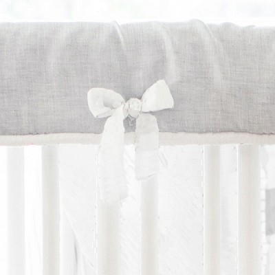 White and Gray Crib Rail Guard | Washed Sea Salt Gray Linen Collection