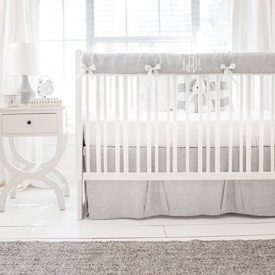 Gray Crib Bedding | Washed Sea Salt Linen Collection