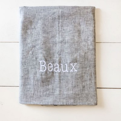 Gray Linen Baby Blanket | Washed Linen in Sea Salt Crib Collection