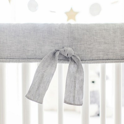 Crib Rail Guard | Sea Salt Solid Washed Linen Collection