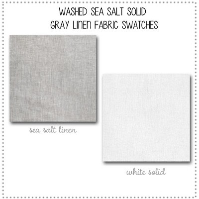 Washed Sea Salt Solid Gray Linen Crib Collection Fabric Swatches Only
