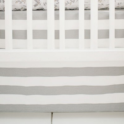 Striped Crib Skirt in White & Gray