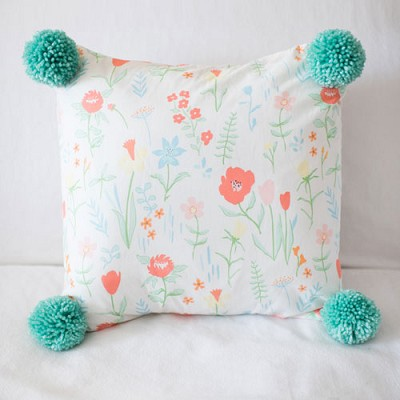 Spring Floral Pillow with Mint Pink Pom Poms