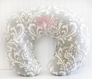 Damask Nursing Pillow Cover | Stella Gray Collection