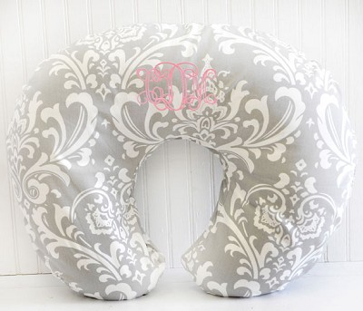 Damask Nursing Pillow Slipcover | Stella Gray Collection