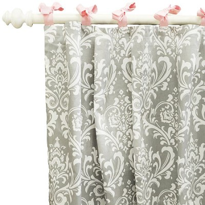 Pink and Gray Damask Curtains  |  Stella Gray Crib Collection