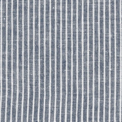 Navy Blue Linen Fabric | Denim Stripe Washed Linen