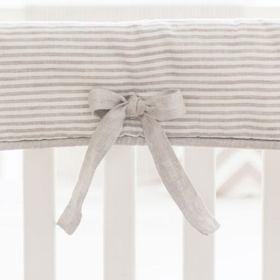 Khaki Stripe Linen Crib Rail Cover | Washed Linen in Ecru Stripe Collection
