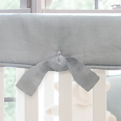Gray Linen Crib Rail Cover | Washed Linen in Gray Collection