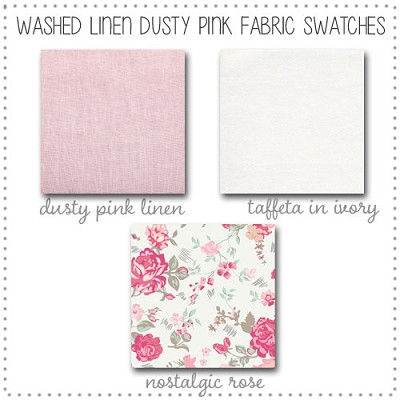 Washed Linen in Dusty Pink Crib Collection Fabric Swatches Only