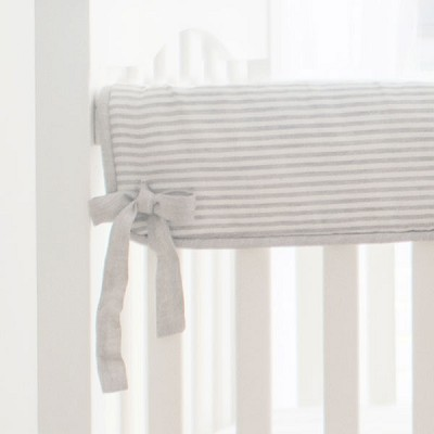Short Side Crib Rail Guard | Washed Linen Ecru Stripe Collection