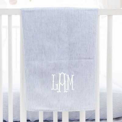 Blue Linen Baby Blanket | Washed Linen in Cabo Crib Collection