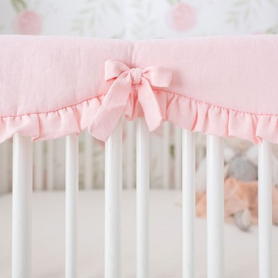 Pink Crib Rail Guard with Ruffle | Washed Linen in Dusty Pink Crib Collection