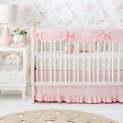 Girl Baby Bedding Sets | Washed Linen in Blush Collection