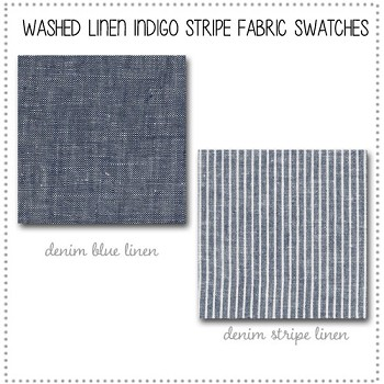 Washed Linen Indigo Stripe Bedding Collection Fabric Swatches Only