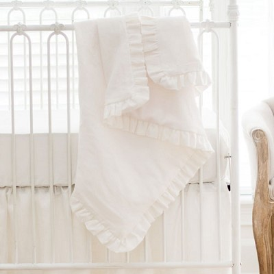 Linen Ruffle Baby Blanket | Washed Linen in Ivory Crib Collection