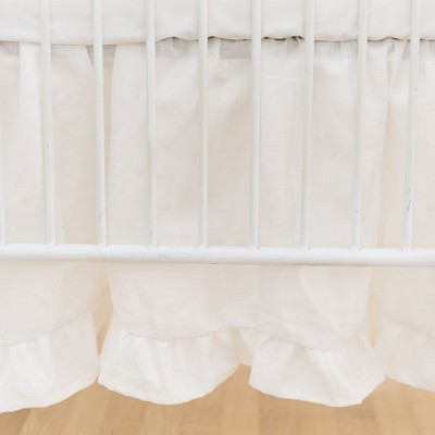 Crib Dust Ruffle | Washed Linen in Ivory Collection