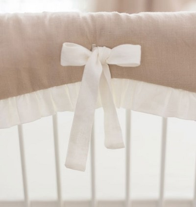 Washed Linen in Natural Crib Rail Cover with Ruffle
