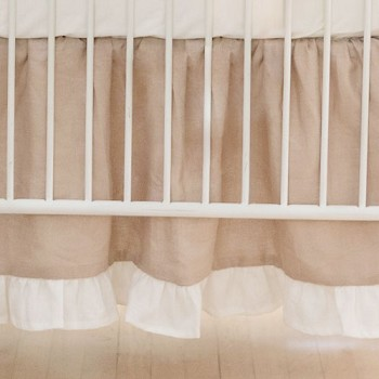 Linen Ruffled Crib Skirt | Washed Linen in Natural Collection
