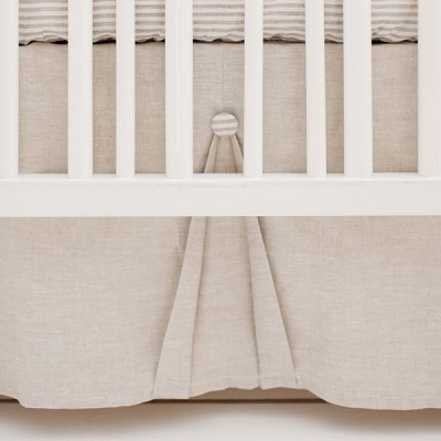Pleated Linen Crib Skirt | Washed Linen in Oatmeal Collection