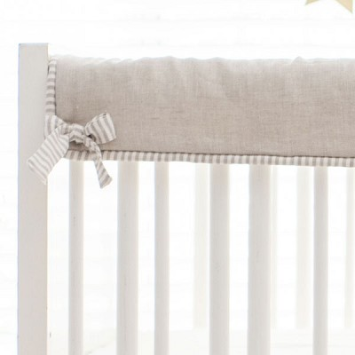 Short Side Crib Rail Guard | Washed Linen in Oatmeal Collection