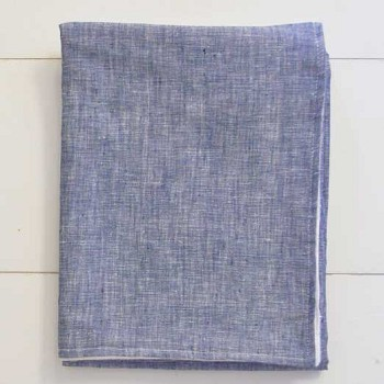 Navy Baby Blanket with Flannel Backing | Washed Linen in Indigo