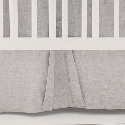 Pleated Gray Linen Nursery Skirt | Washed Sea Salt Gray Linen Collection