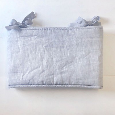 Washed Gray Linen Crib Rail Cover