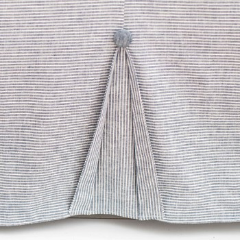 Navy Pleated Linen Crib Skirt | Washed Linen Indigo Stripe Collection