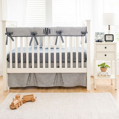 Navy Blue Baby Bedding Set | Washed Linen Indigo Stripe Collection