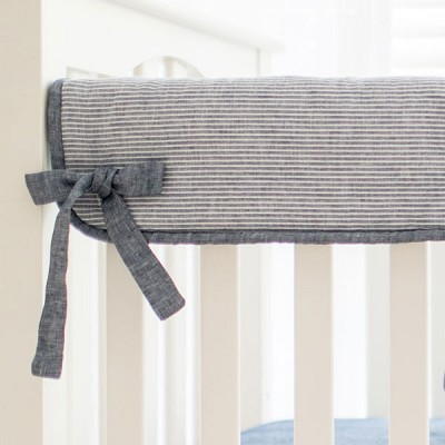 Short Side Crib Rail Guard | Washed Linen Indigo Stripe Collection