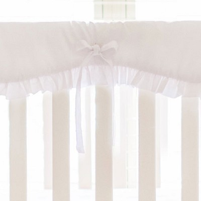 White Crib Rail Cover with Ruffle | White Nursery Bedding Collection