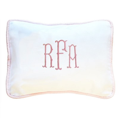Personalized Baby Pillow | White with Pink Trim