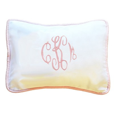 White Monogram Pillow with Pink Trim