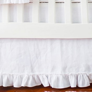 White Linen Crib Skirt with Ruffle | Madison Avenue Collection