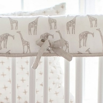 Khaki Giraffe Crib Rail Cover | Wild Safari Collection