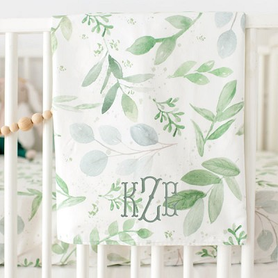Green Baby Blanket | Willow Crib Collection