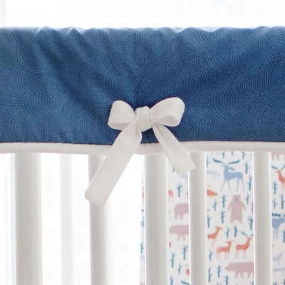 Navy and White Bumperless Nursery Rail Guard | Woodsy Forest Collection
