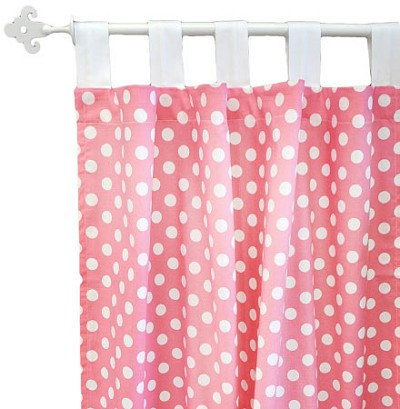Hot Pink Polka Dot Curtains  | Zig Zag Baby in Hot Pink Crib Collection