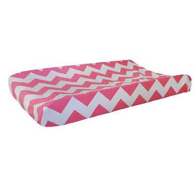 Hot Pink Chevron Changing Table Pad Cover | Zig Zag Baby in Hot Pink Crib Collection