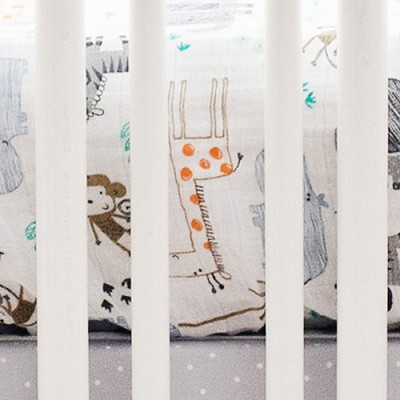 Jungle Muslin Crib Sheet | Zoo Escape Collection
