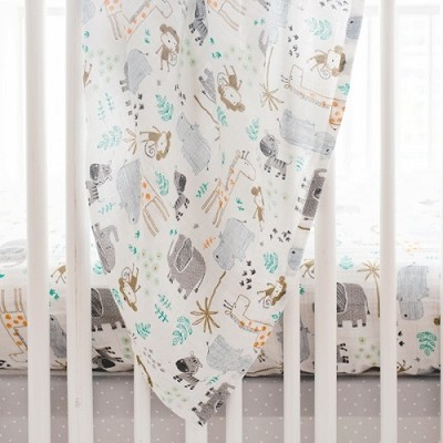 Jungle Muslin Swaddle Baby Blanket | Zoo Escape Crib Collection
